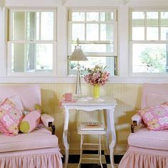 From BHG: Old trailer remodel - love this setting