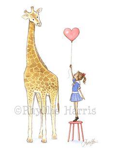 Children's Wall Art Illustration Giraffe by PhyllisHarrisDesigns, $25.00