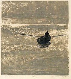 "Shaub/Schaub (American, Rowing Alone, woodblock print. Indianapolis Museum of Art. ""Paul Shaub/Schaub (American, Rowing Alone, woodblock print. Indianapolis Museum of Art. Woodblock Print, Banksy, Linocut Prints, Art Prints, Block Prints, Indianapolis Museum, Wood Engraving, Rowing, Japanese Art"