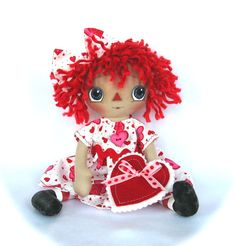 Primitive Raggedy Ann Doll Valentine Hearts by cottoncandydolls, $35.00