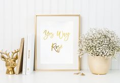 Yes way Rosé gold foil print/ kitchen print/ wine by TradeandUnion