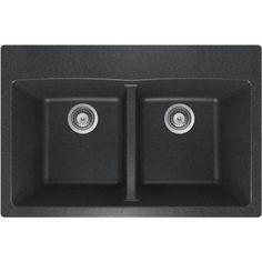 Buy Here: http://thd.co/1Ryd9eE SCHOCK INSPIRE INPN200T097 Top Mount Composite 31 in. 0-Hole 50/50 Double Bowl Kitchen Sink in Magma #kitchensink #kitchensinks #kitchen #sinks #schock #granitesink