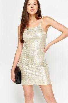 Champagne Metallic Bodycon Dress