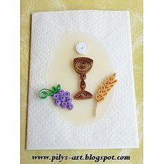 Estas son algunas tarjetas con motivos en filigrana (quilling) cuya base está elaborada con papel albanene o vegetal que se una en tarjete...