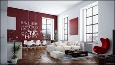 Mooie woonkamer met visgraat houten vloer en knallende rode muur met tekst. De hoge ramen zijn ook heel mooi.
