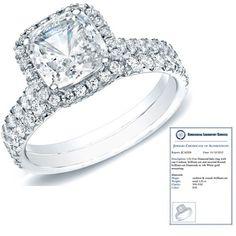 1 Carat Certified Diamond 14K White Gold Cushion Cut Bridal Set