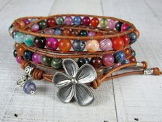 Boho Wrap Bracelet For Women - Colorful Gemstone and Leather Triple Wrap Bracelet - Gift for Her
