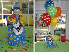 I have to say, Meyer's sock monkey birthday bash was a HUGE success! Our birthday boy had so much fun. Sock Monkey Party, Sock Monkey Birthday, Monkey Birthday Parties, Birthday Treats, 1st Boy Birthday, Birthday Party Themes, Birthday Party Centerpieces, Balloon Centerpieces, Balloon Decorations