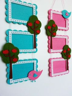 Felt frames (idea only) Art Drawings For Kids, Art For Kids, Crafts For Kids, Felt Crafts Diy, Felt Diy, Frame Crafts, Diy Frame, Felt Bookmark, Projects To Try