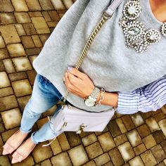 IG @mrscasual <click through to shop this look> loft two in one striped top. Vigoss distressed skinny jeans. Jcrew factory emery bow flats. Rebecca Minkoff mini Mac crossbody bag. Statement necklace.