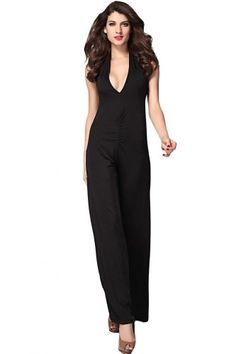 51066fdee229 Amazon.com  Dear-Lover Women s Plunging Neckline Jumpsuit with Wide Legs  One Size Black  Clothing