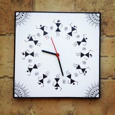 Black and White Handmade Hand Painted Warli Wall Clock - by Maddie's Fingers The Arty Ones