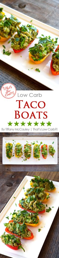 These delicious, taco-stuffed mini peppers make the perfect light meal or even appetizer for your next gathering. Great for game day appetizers!! ~ http://www.thatslowcarb.com