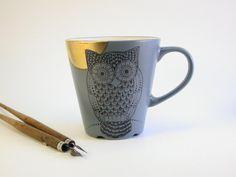 black owl gold moon grey mug   handpainted by madrab on Etsy, €27.00