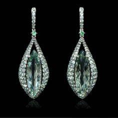 Firenze Jewels- Green Amethyst,Tourmaline, Sapphire,18K white Gold dangle earrings.
