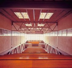 Maravillas School Gymnasium by Alejandro de la Sota Falls Church, Built Environment, Stairs, Mid Century, School, Building, Interior, Design, Madrid