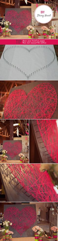 DIY - cheap wall art (wood, nails, yarn) #Valentines #PreciousMetals #Love