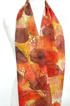 Leaves Scarf. Hand Painted Silk Scarf. Gift for Her. by TeresaMare