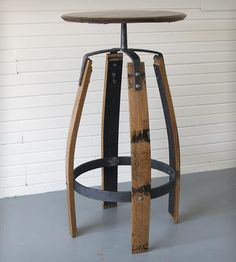Reclaimed Bourbon Barrel Bar Table