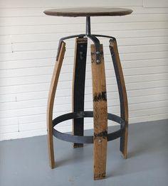 Reclaimed Bourbon Barrel Bar Table