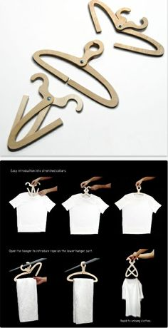 Split Hanger. Unique design easily slips into shirts without stretching out the collar and allows you to slip pants on and off without taking the hanger off of the hanging bar. - by system design studio