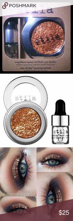 Stila Magnificent Metals Foil Finish Eye Shadow **Easily my favorite eye shadow** one-of-a-kind, buildable, high-metallic cream eye shadow. Create a variety of effects with stila?s revolutionary foil-finish eye shadow that builds from a light, sheer shimmer to a high-metallic opaque. The set includes a deluxe Stay All Day? Liquid Eye Primer, which preps, primes, and creates long-lasting adhesion to lids. It also includes a handy mixing tray for easy use; simply apply, combine, and shine…