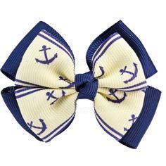 Double Bow Hair Clip Navy And Cream Anchor Rockabilly Pin Up Retro Nautical (x1)