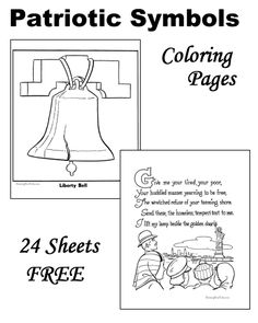 American Symbols -Patriotic Symbols to Color! Kindergarten Coloring Pages, Kindergarten Colors, American Symbols, American History, American Indians, Native American, Patriotic Symbols, Patriotic Crafts, 1st Grade Worksheets