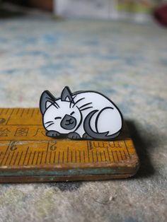 Siamese Cat ENAMEL PIN  Take a Nap by MellowattCo on Etsy