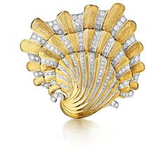 Verdura's platinum, gold, and diamond shell brooch, inspired by a brooch worn by Tallulah Bankhead. Photo courtesy of Nuvo Magazine
