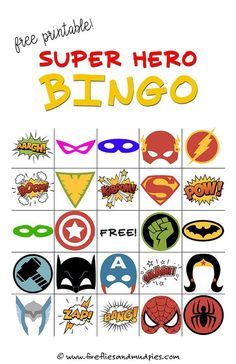 Free Printable Super Hero BINGO Party - - Got a superhero fan? This printable Superhero Bingo Game is perfect for birthday parties, library programs, or simply as a fun boredom buster at home. Girl Superhero Party, Superhero Classroom Theme, Batman Party, Superhero Games For Kids, Superhero Ideas, Superheroes For Kids, Superhero Party Activities, Superhero Preschool, Bingo Games For Kids