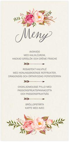 Meny,<br>Delightful Love i gruppen BRÖLLOP / KORT / Menykort hos Calligraphen i Munkfors AB (set60162mc)