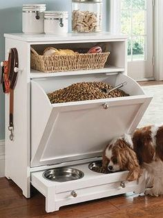 Keep your pet's essentials organized and at-the-ready with the Pet Feeder Station that opens to provide your pet with a place to eat and drink and closes to become a classic design piece.