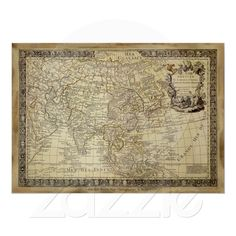 Red old world map framed art print map frame wall decor and 1700 ad old world map art poster created by printedgifts order as shown or change the print size or paper type add custom framing gumiabroncs Choice Image