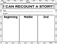 K - 3 Beginning-Middle-End ELA Language Arts Worksheet | T e a c h ...