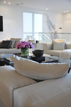 pure white walls contemporary living room with perfect styling - Ocean House