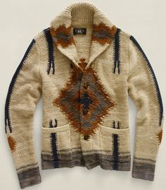 Raw Silk and Wool Indian Inspired Cardigan, By RRL, Ralph Lauren. Men's Fall Winter Fashion.