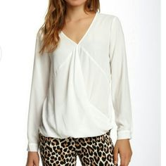 Long Sleeve Wrap Blouse Long Sleeve Wrap Blouse ~ Ivory D1407 Tops Blouses