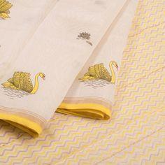 Hand Printed Chanderi Silk Cotton Saree With Zari Border 10019333 - - AVISHYA.COM