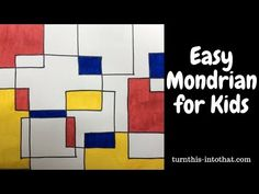Easy Mondrian Drawing for Kids. Art for kids. Great how to video to do easy drawing for kids, incorporate art history and famous artist Piet Mondrian, Mondrian Kunst, Mondrian Dress, Mondrian Art Projects, Line Art Projects, Art Lessons For Kids, Art Lessons Elementary, Art For Kids, Easy Drawings For Kids