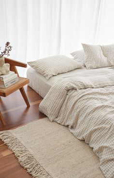 Ultra luxurious pure French linen quilt cover in Beige Gingham Uni Bedroom, Comfy Bedroom, Bedroom Decor, Bedroom Inspo, Peaceful Bedroom, Bedroom Ideas, Master Bedroom, Gingham Quilt, Linen Duvet