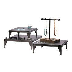 Gunmetal-Finish Metal Three-Piece Riser Display Set    This three-piece riser set features sturdy metal platforms with a gunmetal washed finish that can be used separately or together to display various jewelry collections. Each square platform has contoured metal feet at the corners, providing stability and elevation. The three displays are all the same height, but the platforms are graduated in size, making it possible to create an impressive stacked display. Fabric Display, Rio Grande Jewelry, Bold Jewelry, Jewelry Displays, Jewelry Making Supplies, Picnic Table, Drafting Desk, Stability, Jewelry Findings
