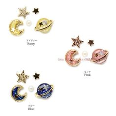 Rakuten Fantasy Saturn Moon Star Ear Stud - Thumbnail 3