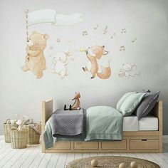 Lovely nursery prints and reposicionable fabric wall decals made with love by AidaZamora Baby Boy Rooms, Baby Bedroom, Baby Room Decor, Diy Bedroom Decor, Kids Bedroom, Animal Wall Decals, Nursery Wall Decals, Creative Kids Rooms, Woodland Nursery Decor