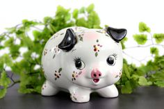 Vintage Piggy Bank Floral Flower Pig Coin by OldVintageGoodies, $20.00