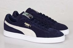 Puma Classic Suede-The Puma Suede has been around since 1968 and is here to stay! This Puma sneaker has a great quality suede upper in blue with white detailing. Now online available Puma Suede Shoes, Puma Sneakers, Shoes Sneakers, Men's Shoes, Sneakers Fashion, Fashion Shoes, Men's Fashion, Puma Classic, Puma Outfit