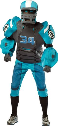 Look just like those football-playing robots from the Fox football broadcasts! The Fox robot Halloween costume will b. Sumo Wrestler Costumes, Boxer Costumes, Referee Costume, Adult Costumes, Robot Halloween Costume, Robot Costumes, Mascot Costumes, Sports Costumes, Halloween Ideas