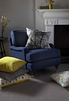 Our lovely Bluebell armchair in midnight blue brushed linen cotton.