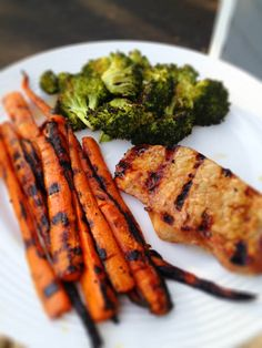 pork chops and grilled carrots