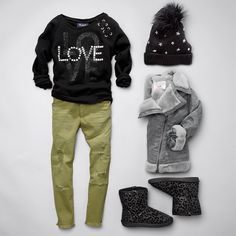 Girls' fashion | Kids' clothes | Embellished top | Destroyed denim | Pom pom beanie | Jacket | Leopard print boots | The Children's Place